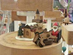A miniature world of Christmas in celebration  #small #mini #miniature #Christmas #celebration #festive #wood #funfair #icon #santa #reindeers #slade
