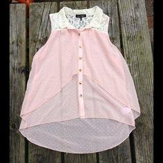 Sheer Lace Sleeveless Blouse-NWOT NWOT. Really pretty top. Sheer material. High low hem. Polka dot design HeartSoul Tops Blouses