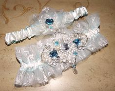 Crystal Couture Something Blue Tulle Hand Beaded by Weddingzilla, $89.00