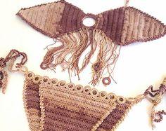 Neon Yellow Crochet Beach Shorts Crochet Bikini by senoAccessory