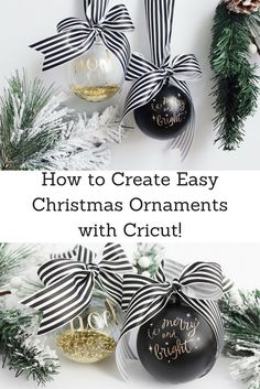 Creating Easy Christmas Ornaments with Cricut - sparkleshinylove How to create easy Christmas ornaments with Cricut! Step-by-step instructions on how to make gorgeous Cricut Christmas ornaments! Easy Christmas Ornaments, Christmas Tree Pattern, Diy Christmas Tree, Personalized Christmas Ornaments, Christmas Balls, Simple Christmas, Christmas Projects, Holiday Crafts, Christmas Time