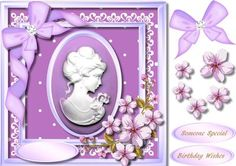 Stunning Cameo with lilac flowers  by Ceredwyn Macrae A lovely card to make and give to anyone with a Stunning Cameo and lilac Flowers has two greeting tags and a blank one for you to choose the sentiment,