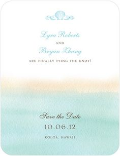Signature White Textured Save the Date Cards On the Horizon - Front : Teal