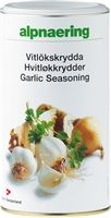 """Alpnaerings Hvitløkkrydder er et av Alpnaerings mestselgende produkt. Den inneholder frysetørket hvitløk som gir en velkomponert smak med en naturlig aroma, men uten """"dagen derpå ånden"""". Utmerket å blande med smør og påføre brød, kjøtt, bakt potet.  Favoritt saus : 2 dl creme fraiche ½ - 1 ts Alpnaerings Grønnsaksbuljong ½ - 1½ ts Alpnaerings Hvitløkkrydder Bland alt i en kasserolle og varm opp.  Serveres varm eller kald til kjøtt, fisk, grønnsaksdipp eller som en god fylling til bakt potet."""