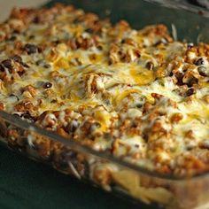 Taco Casserole Recipe   Key Ingredient Taco Bake Casserole, Mexican Casserole, Casserole Recipes, Casserole Dishes, Breakfast Casserole, Recipe Key, Taco Recipe, Chips Recipe, Recipe Link