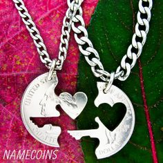 Key to my Heart necklace Couples Jewelry Interlocking by NameCoins, $24.99