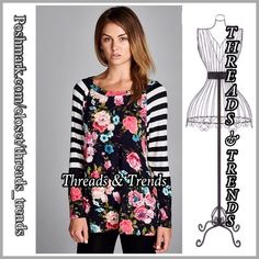 Flower Power Top Wow....loving the bold design of this floral print with stripe contrast. No need to embellish this it speaks all on it own. 2 colors black stripes & pink floral, or black stripes. Made of rayon & spandex. Size S, M, L Threads & Trends Tops