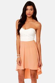 High-Low Can You Go? Ivory and Peach Strapless Dress