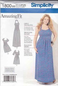 Simplicity Sewing Pattern 1800 Womens Plus Size 20W-28W Raised Waist Dress Sleeve Options Simplicity+Sewing+Pattern+1800+Womens+Plus+Size+20W-28W+Raised+Waist+Dress+Sleeve+Options
