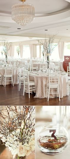 White chiavari chairs, custom linens, centerpieces with ivory and pink roses, curly willow, pussy willow and blossoms. Wooden table numbers nested in willow branches and moss inside of a glass globe. Branch Centerpieces, White Centerpiece, Wedding Centerpieces, Wedding Decorations, Curly Willow Centerpieces, Mod Wedding, Trendy Wedding, Wedding Table, Wedding Reception
