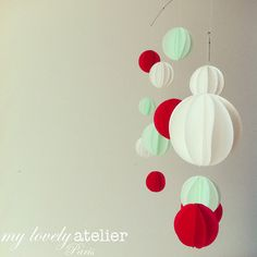 Mobile red mint iridescent white by MyLovelyAtelier on Etsy, €45.00