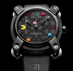 Romain Jerome worked out a limited series of 80 watches designed after the cult PAC-MAN™. In association with NAMCO BANDAI Games Inc. RJ-Romain Jerome is bringing the famous insatiable yellow character back to life. Romain Jerome, Space Invaders, Pac Man, Apollo 11, Limited Edition Watches, Cool Watches, Man Watches, Unique Watches, Beautiful Watches