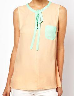 #SheInside Pink Sleeveless Ribbon Pocket Chiffon Blouse