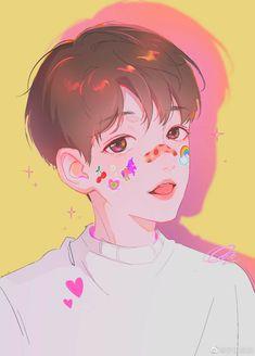 Baekhyun Fanart, Chanbaek Fanart, Kpop Fanart, Boy Hair Drawing, Exo Anime, Exo Red Velvet, Exo Fan Art, Cute Art Styles, Boy Art