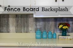 Fence Board Backsplash from Marty's Musings.. I actually am in love with everything in this kitchen!