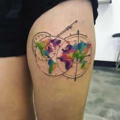 Watercolor world map tattoo by Jordan Ashley