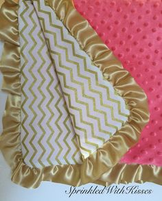 Gold chevron baby blanket with coral minky, chevron coral baby blanket, gold ruffle baby, gold nursery, chevron print, baby blanket