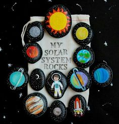 Solar System Story Stones and Painted Rocks / by (Diy Manualidades Parties) Projects For Kids, Diy For Kids, Art Projects, Crafts For Kids, School Projects, Fun Crafts, Story Stones, Educational Activities, Toddler Activities