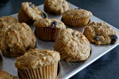 Blueberry Oatmeal Muffins with Red Lentils | These are seriously delicious, full of protein. I substitute coconut oil for canola.