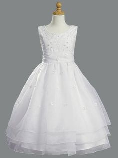 2f7de034364 White Embroidered Organza   Pearled Bodice First Communion Dress Style   Sleeveless embroidered pearl bodice Three layered organza skirt Irremovable  tie back ...