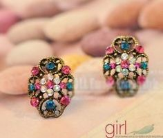 Fashion Vintage hollow out Colorful Rhinestone clover Flower Earrings Stud e