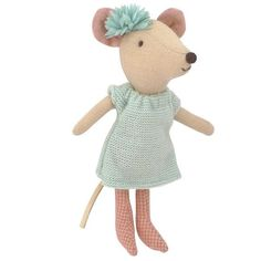 Maileg Big Sister Mouse with Blue Knit Dress