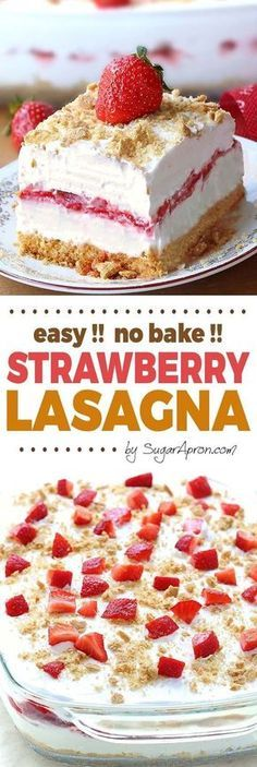 No Bake Strawberry Cheesecake Lasagna -a dessert lasagna with graham cracker crust, cream cheese filling, strawberries and cream topping, will make all Your Strawberries and Cream dreams come true. desserts No Bake Strawberry Cheesecake Lasagna Easy Desserts, Delicious Desserts, Yummy Food, Baking Desserts, No Bake Summer Desserts, Light Desserts, Holiday Desserts, Bolo Original, Keto Postres