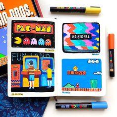 how to draw beginners Posca Marker, Marker Art, Posca Art, Arte Sketchbook, Art Diary, Pen Art, Art Challenge, Art Journal Inspiration, Pretty Art