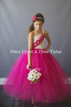 Hot Pink White Flower Girl Tutu Dress  by OnceUponATimeTuTus