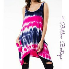 🎉NEW TIE DYE TUNIC/DRESS Hang out in this new tie dye tunic. Long enough to be worn as as a dress Features side pockets  🎉Top tends party HP🎉 Size S,M,L 96% Rayon/4% Spandex  Made in USA 4 Bidden Boutique Tops Tunics