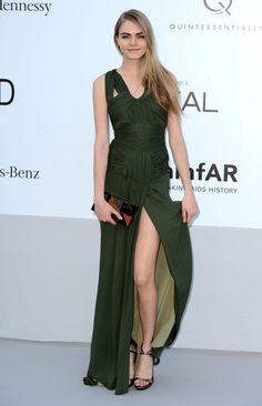 Cara Delevingne StyleChi Green Split Draped Bandage Dress
