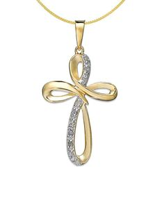 Modern Timeless Classic Gold Plated .925 Sterling Silver & Crystal Cross Pendant To Help Digest Greasy Food Jewelry & Watches