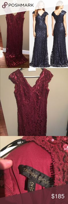 """Beautiful Tadashi Shoji Sequin Lace Gown 🌹 The dress is burgundy/wine color. Perfect for a holiday party, prom, wedding, or New Years. Embroidered sequins cast iridescent shimmer across the delicate lace overlay of a riveting. Soft eyelash fringe scallops edge the V-neckline, cap sleeves and pooling hem to further refine the regal silhouette. 62 1/2"""" regular length.  Hidden back-zip closure. Lined. 60% cotton, 40% nylon or 40% nylon, 30% cotton, 30% polyester. Great used condition. Tadashi…"""