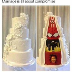 """Marvel at the front, then Marvel at the back. Marriage is all about compromise."" Posted on Facebook by Robert Downey jr."