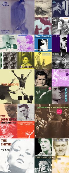 a few early Smiths lp covers- art directed by Morrissey and Jo Slee via door sixteen