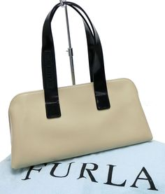 Authentic FURLA Beige and Black Leather Hand Bag Purse #10354