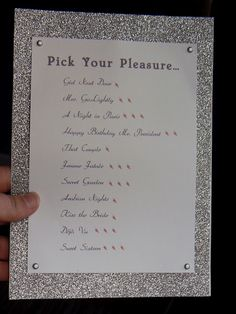 make a menu for  mike for their honeymoon. after tiff opens all of her gifts and lingerie we name them and then give to mike so he can pick out what he is in the mood for