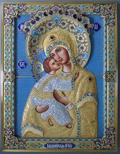 икона Владимирская Божья Матерь, серебряный оклад, серебро, купить, заказать, горячие эмали, филигрань, перегородчатая эмаль