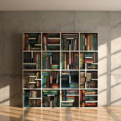 "By playing around with the placement of the shelves within each box, they were able to visibly form the phrase ""READ YOUR BOOKCASE."" I love it!!!"