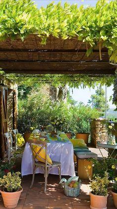 Cozy Backyard, Backyard Garden Design, Backyard Pergola, Pergola Shade, Backyard Landscaping, Pergola Kits, Pergola Ideas, Balcony Ideas, Outdoor Pergola