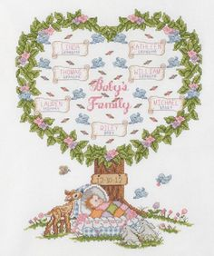 Babys Family Tree Counted Cross Stitch Kit