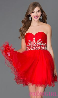 Short Strapless Sweetheart Homecoming Dress 9183 at PromGirl.com