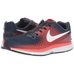 Nike Air Zoom Pegasus 34 FlyEase (Thunder Blue/White/Bright... (365 BRL) ❤ liked on Polyvore featuring men's fashion, men's shoes, men's athletic shoes, mens velcro closure shoes, nike mens athletic shoes, mens black shoes and mens white shoes
