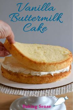 Vanilla Buttermilk Cake is the old fashioned layer cake we all know and love. The cake has a moist, fine crumb and lovely vanilla flavor. Cake Recipes With Oil, Sponge Cake Recipes, Cake Recipes From Scratch, Homemade Cake Recipes, Easy Vanilla Cake Recipe From Scratch, Yellow Cake From Scratch, Vanilla Butter Cake Recipe, Easy Sponge Cake Recipe, Homemade Breads