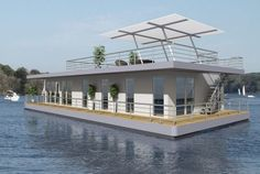 Nautic Living is a German manufacturer specializing in floating houses that use electric engines and solar energy. Pontoon Houseboat, Houseboat Living, Houseboat Ideas, Pontoon Boats, Lakefront Property, Water House, Solar House, Earth Homes, Floating House