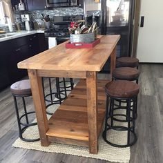 Entertainment Center made of Reclaimed Rustic Pine Barn Wood with Sliding Barn Doors, Made to Order - - Kitchen Tops, Kitchen Decor, New Kitchen, Kitchen Table With Storage, Kitchen Faucets, Awesome Kitchen, Kitchen Ideas, Kitchen Appliances, Farmhouse Kitchen Island