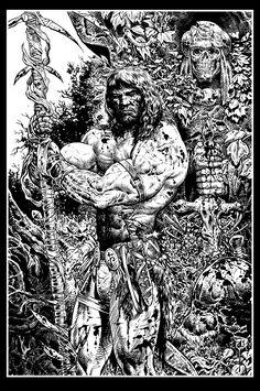 Conan black and white art by =LiamSharp on deviantART