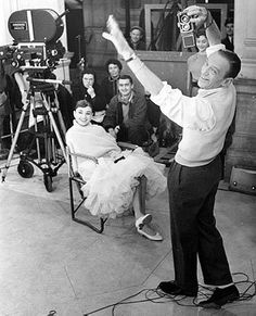 On the set of Funny Face with co-star Fred Astaire, 1956. Photo: Gerard DeCaux, Audrey Hepburn Estate Collection.