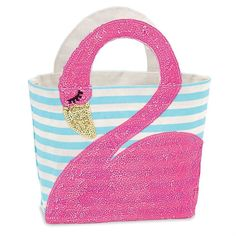 Pretty Flamingo Sequined and Jute Tote Bag 12 Inches - Mary B Decorative Art