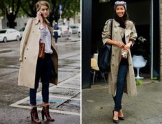 Love the fit on the right. STREETSTYLE: TRENCH COATS | My Daily Style en stylelovely.com